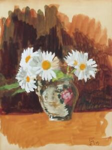 Vintage French Gouache Painting, Bouquet of Daisies in a Vase, Signed, 1939