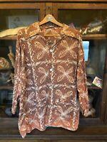 Vintage Mens 1950's Hawaiian Club Lounger Shirt Loop Collar Tiki Rockabilly
