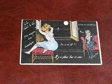 ORIGINAL XAVIER SAGER SIGNED ART NOUVEAU GLAMOUR RISQUE POSTCARD - WOMAN & MOON.
