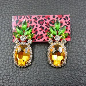 Fashion Betsey Johnson Alloy Crystal Enamel Yellow Pineapple Stud Earring Jewel
