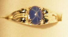 7x5 mm Bahama Blue LINDE STAR SAPPHIRE RING 925 STERLING SILVER SIZE 7