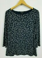 J. Jill Wearever Collection Women's Small 3/4 Sleeve Floral Stretchy Knit Top