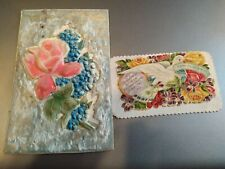 Post Card with flowers on it, and Name card with a dove and flowers on it