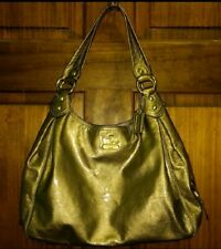 COACH MADISON GOLD PATENT LEATHER MAGGIE SHOULDER BAG HOBO PURSE 14331