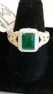 Natural treated Emerald & Diamond ring, 14K White/Multi Gold, IGI certified tag
