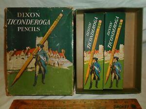 Vintage Dixon #2 Ticonderoga Pencils 1386 Exterior Box w/ 2 Nice Boxes