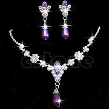 Bridal Bridesmaid Wedding Party Porm Jewelry Set Crystal Pearl Necklace Earrings