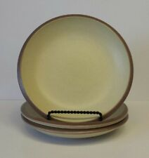 "Set of (3) THOMPSON POTTERY Cream Yellow w/ Brown Rim Salad Plates - 8"" Diameter"