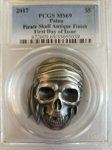 2017 Palau Pirate Skull 1 oz Silver PCGS MS 69 FDOI $5 0012