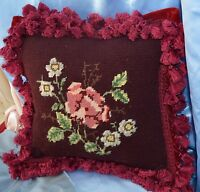 VINTAGE Needlepoint Pillow Floral Burgundy  VELVET BACK SQUARE