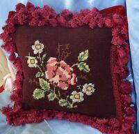 VINTAGE Needlepoint Pillow Floral Burgundy  VELVET BACK SQUARE