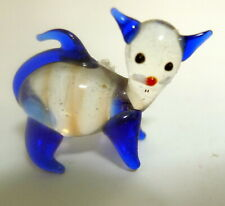 Vintage 1970s Miniature Glass Clear Hand Blown Blue Cat Shadow Box Trinket