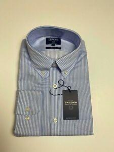T.M. LEWIN Hemd blau weiß gestreift große Business Casual nicht Eisen Knopf Manschette