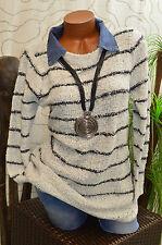 Pullover Pulli Strick Wolle Jeanskragen A-Form langarm meliert hell grau Gr. 42