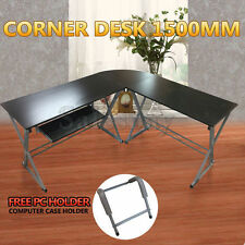 Stylish Corner Workstation Desk Executive Office Computer Pull-out Tray Home Stu