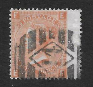 GB Victoria SG94, Scott 43, 4d. Vermilion, Plate 13, Letters E-F, 1872, VGU