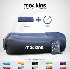 Mockins Inflatable Navy Blow Up Lounger Beach Chair Bed With Travel Bag Pockets