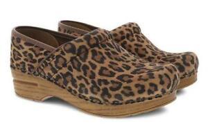 Dansko Professional Leopard Suede Women's Clogs - NEW - Choose Size