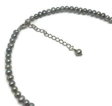 """Child's 12-14"""" grey / Blue Pearl Necklace, Solid sterling Silver. Bridesmaids."""