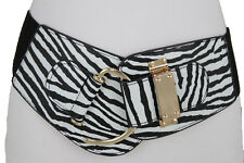 Women Fashion Wide Zebra Animal Print Belt Gold Metal Hook Buckle Hip Waist S M