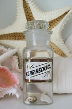 Extremely RARE 5 Inch Glass Label LUG Apothecary Bottle~FERR.REDUC.~Reduced Iron