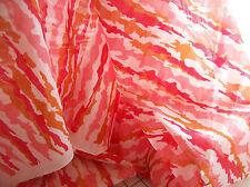 6Y Retro Vintage Semi Sheer Curtain Fabric Wild Bright Red Pink 44 W 70s Pretty!