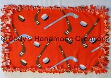 HANDMADE BABY / PET MINI FLEECE TIED SECURITY BLANKET - HOCKEY / ORANGE 16 X 26