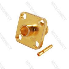 "SMA female panel mount 4-hole connector solder semi-rigid cable .141"" RG402"