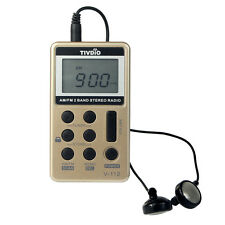 TIVDIO Radio 2 bandes Radio FM / AM Radio Pocket Receiver Batterie rechargeable