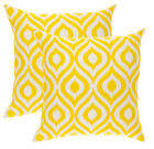 TreeWool (2 Pack) Throw Pillow Cushion Covers in Cotton Canvas Ogee Ikat Accent