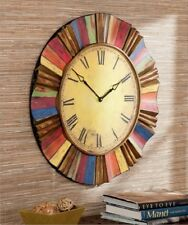 Large Wall Clock Vintage Wood Analog Round Artisan Eclectic Indoor Decorative