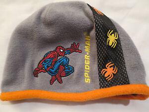 Marvel Spider-man Fleece Gray Reversible Black Beanie Cap Hat Boys Youth