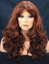 Long Wavy Curly Layered WARM Red mix w bangs WIG WACA G130 Hair piece