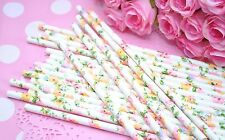 25 Floral Paper Straws Garden Tea Party Spring Flower Baby Wedding Theme Party