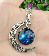 Hot Colorful Galaxy Glass Hollow Moon Shape Pendant Silver Tone Necklace  XL23
