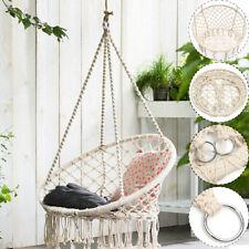120cm Macrame Hammock Chair Swing Relax Garden Comfort Handmade Shabby Beige