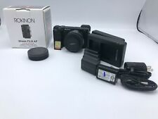 Sony A6400 body w/Rokinon 35mm 2.8, 5 batteries, 2 battery chargers, 32 GB