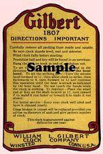 NEW!, 2 EXACT COPYS OF GILBERT MANTLE CLOCK  LABELS CA. 1920