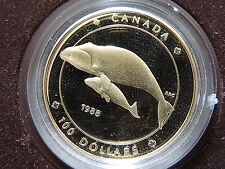 1988 Canadian One Hundred ($100.00) Dollar Gold Coin in Case With COA