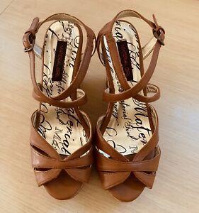 Madden Girl Wedge Platform Strappy Brown Sandals Women's Shoes Size 6.5