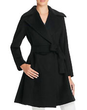 NWT $545 TRINA TURK BLACK WOMENS VIOLET FIT-N-FLARE COAT JACKET 12 L LG