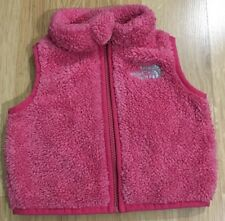 The North Face Full Zip Fleece Vest Baby Toddler Size 3-6 Months Pink Fuzzy