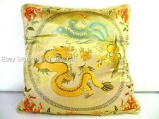 GOLD Chinese Oriental Pillow Cushuion Case Home Decor Sofa Dragon Design Pattern
