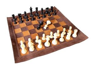 Roll-Up Vintage Look Leather Tournament Chess Set 19 X 19 inch Brown Gift