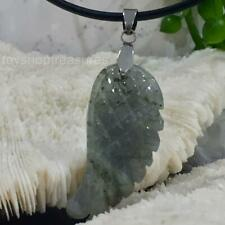 New Labradorite Angel Wing Gemstone Pendant on Genuine Leather Necklace