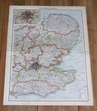 1912 ORIGINAL ANTIQUE MAP OF ENGLAND LONDON KENT ESSEX SUSSEX NORFOLK SUFFOLK