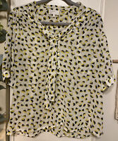 Hi There from Karen Walker Women Yellow 3/4 Sleeve Sheer White Blouse Size 10