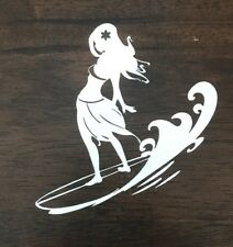 Surfer Girl Sticker Decal - Hawaii Surf Waves Tropical Surfing Beach Surfboard
