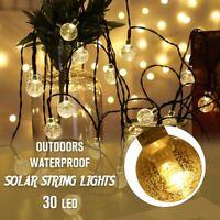 20ft 30 LED Solar String Fairy Lights Outdoor Waterproof Warm White Garden Decor