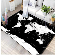 NEW FACTORY DIRECT White & Black World Map CARPET RUG 150 X 100CM